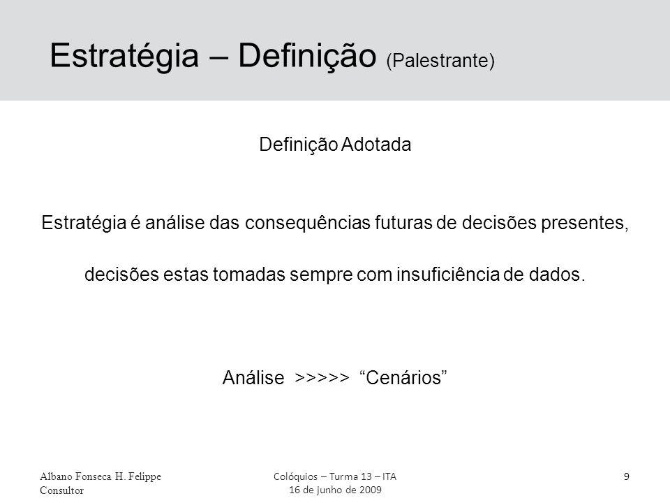 Estratégia – Definição (Palestrante) Definição Adotada Estratégia é análise das consequências futuras de decisões presentes, decisões estas tomadas se