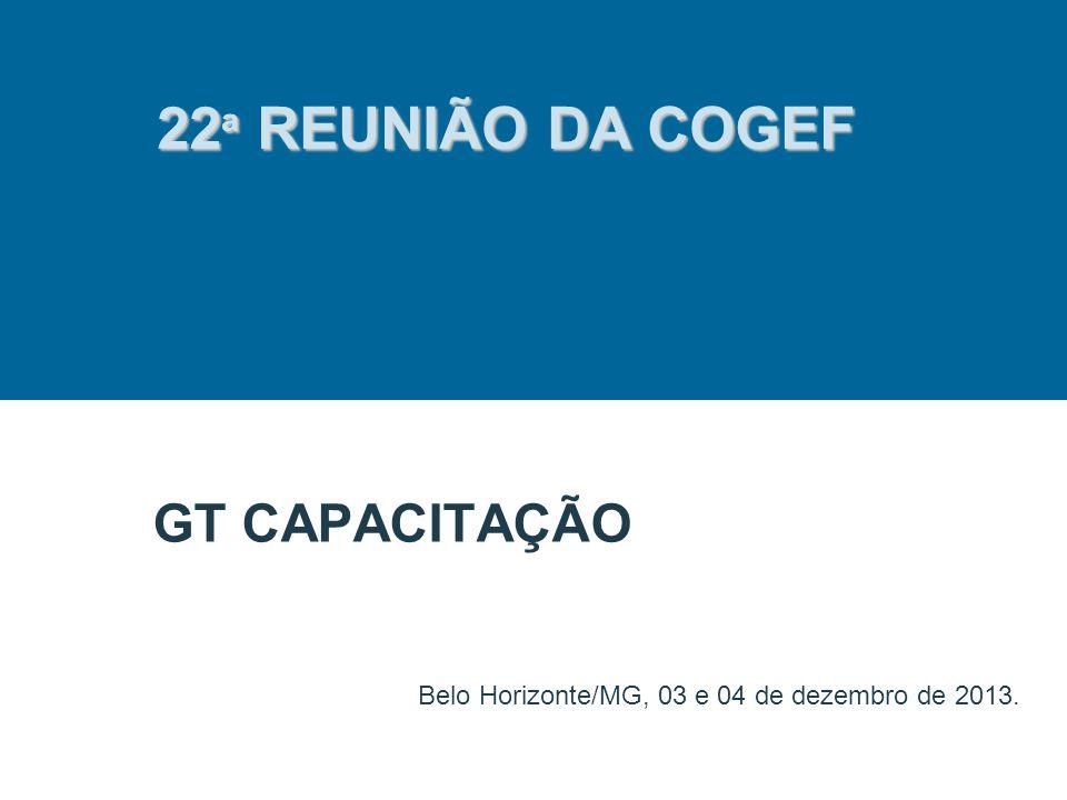 GT CAPACITAÇÃO Belo Horizonte/MG, 03 e 04 de dezembro de 2013. 22 ª REUNIÃO DA COGEF