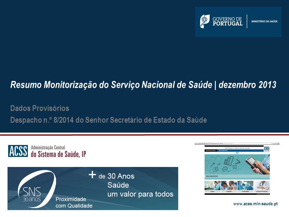 www.acss.min-saude.pt Notas metodológicas 12 Atividade assistencial É considerada a atividade realizada pelas instituições do Serviço Nacional de Saúde.