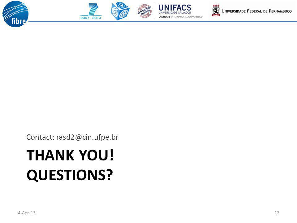 THANK YOU! QUESTIONS? Contact: rasd2@cin.ufpe.br 4-Apr-1312