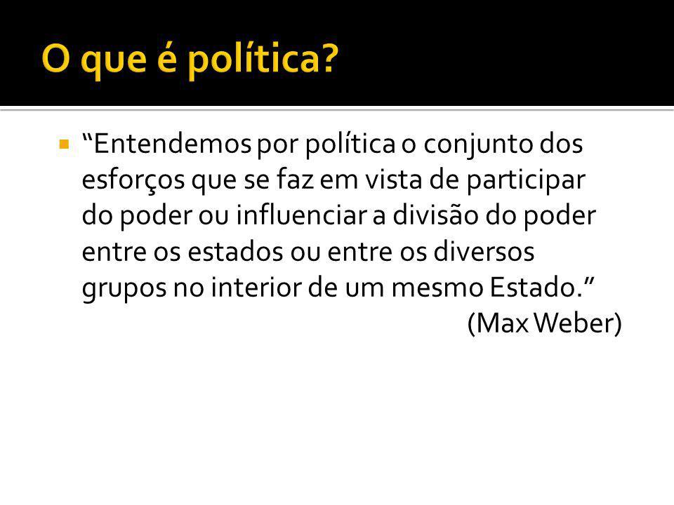  Entendemos por política o conjunto dos esforços que se faz em vista de participar do poder ou influenciar a divisão do poder entre os estados ou entre os diversos grupos no interior de um mesmo Estado. (Max Weber)