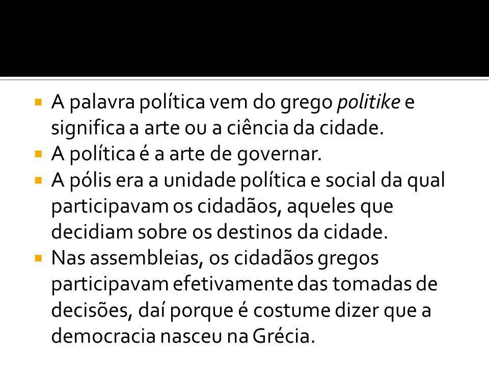  A palavra política vem do grego politike e significa a arte ou a ciência da cidade.
