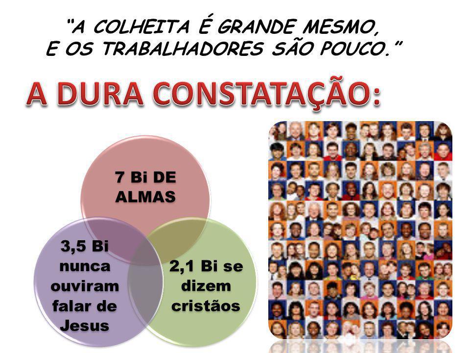 A COLHEITA É GRANDE MESMO, E OS TRABALHADORES SÃO POUCO. 7 Bi DE ALMAS 2,1 Bi se dizem cristãos 3,5 Bi nunca ouviram falar de Jesus
