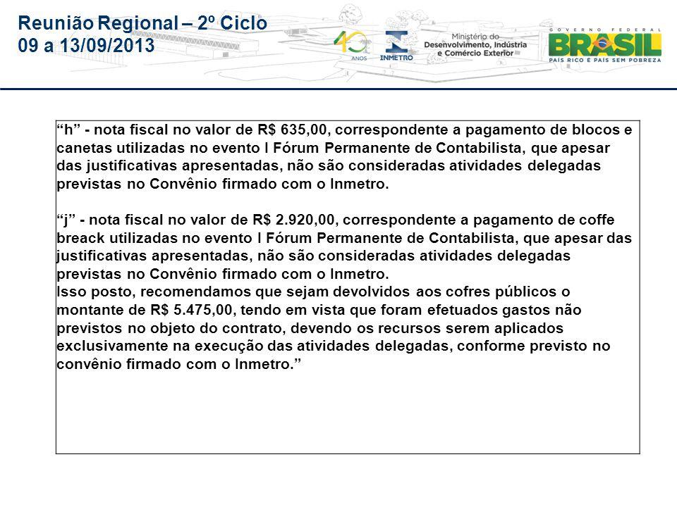Reunião Regional – 2º Ciclo 09 a 13/09/2013 ÓrgãoIPEM – MG PA- 200-012/2012-O Audin Todos os Itens do Parecer n.º 021/Audin, referente ao Oficio n.º 030/IPEM- MG/DIGE, de 26/03/2012, Foram acatados.