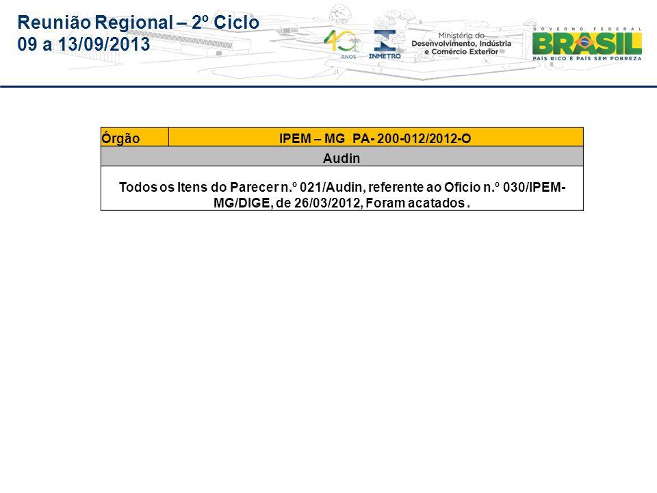 Reunião Regional – 2º Ciclo 09 a 13/09/2013 Mato Grosso – IPEM/MT (Órgão não será auditado em 2013 por esta audin)