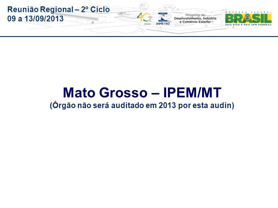 Reunião Regional – 2º Ciclo 09 a 13/09/2013 ÓrgãoIMEQ/MT PA-510-009/2012-O.