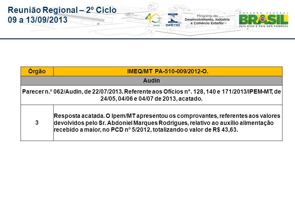 Reunião Regional – 2º Ciclo 09 a 13/09/2013 Mato Grosso do Sul - AEM/MS (Auditoria de 2013 será realizada no período de 16 a 20/09/2013)