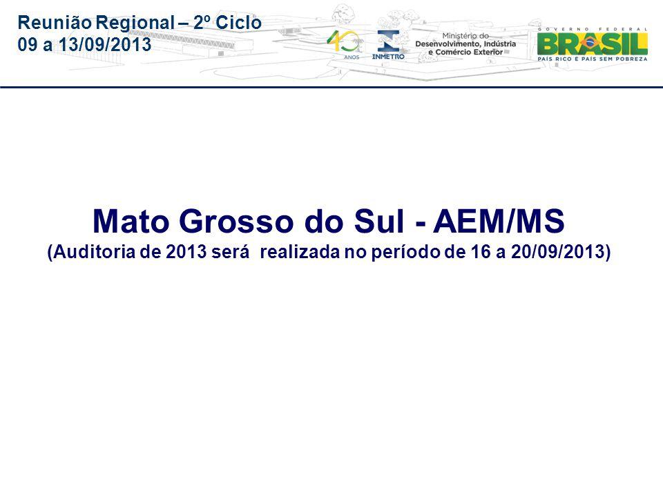 Reunião Regional – 2º Ciclo 09 a 13/09/2013 Órgão AEM/MS PA 540-014/2012-O Audin Parecer n.º 064/Audin, de 22/07/2013, enviado para o Órgão em 31/07.
