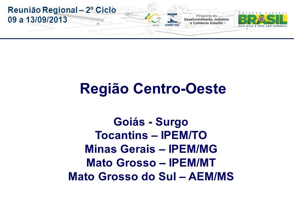 Reunião Regional – 2º Ciclo 09 a 13/09/2013 GOIÁS – SURGO (Auditoria de 2013, será realizada no período de 16 a 20/09/2013)