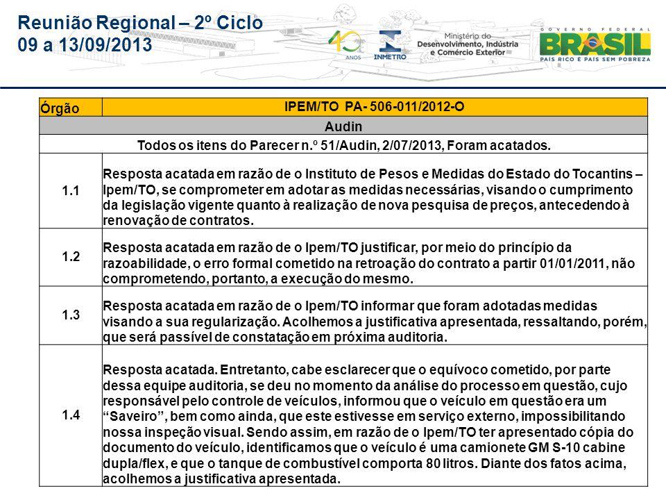 Reunião Regional – 2º Ciclo 09 a 13/09/2013 Órgão IPEM/TO PA- 506-011/2012-O Audin 1.5 Resposta acatada.
