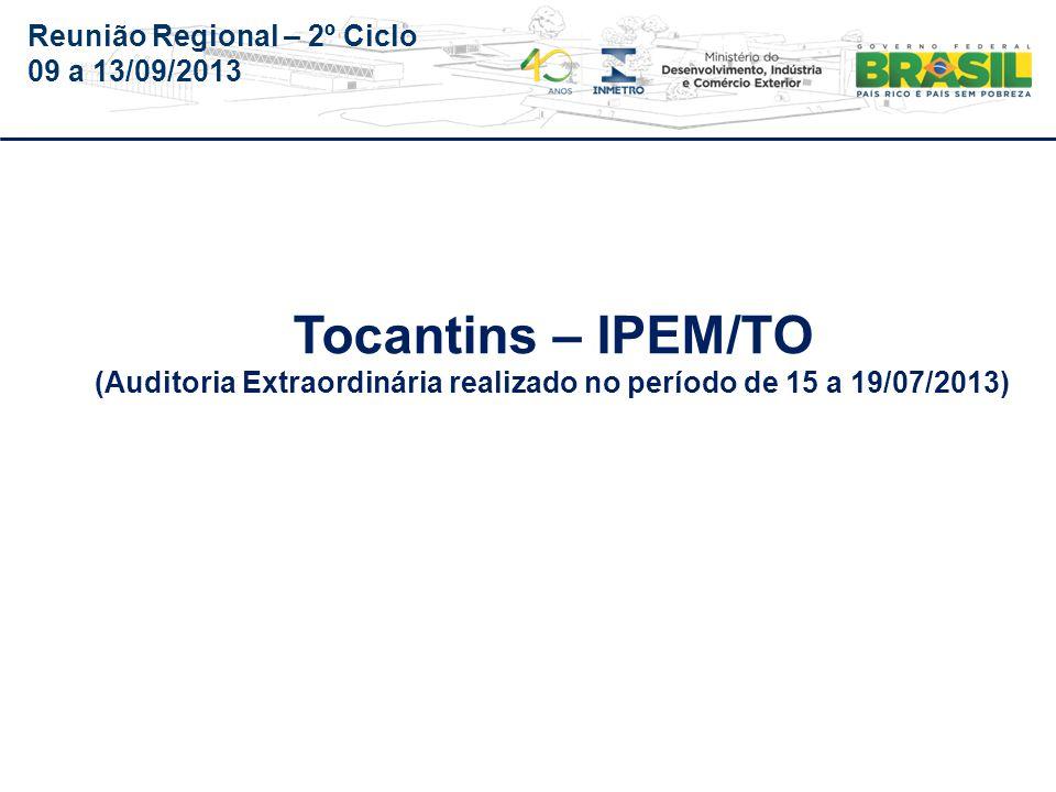 Reunião Regional – 2º Ciclo 09 a 13/09/2013 ÓrgãoIPEM/TO PA - 506-001/2013-E Audin Auditoria realizada no período de 15 a 19/07/2013.