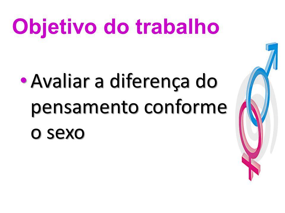 Avaliar a diferença do pensamento conforme o sexo Avaliar a diferença do pensamento conforme o sexo Objetivo do trabalho