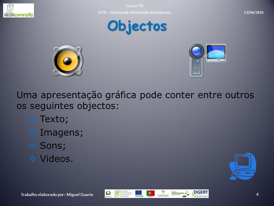 Objectos Uma apresentação gráfica pode conter entre outros os seguintes objectos:  Texto;  Imagens;  Sons;  Videos. Curso TIS Trabalho elaborado p