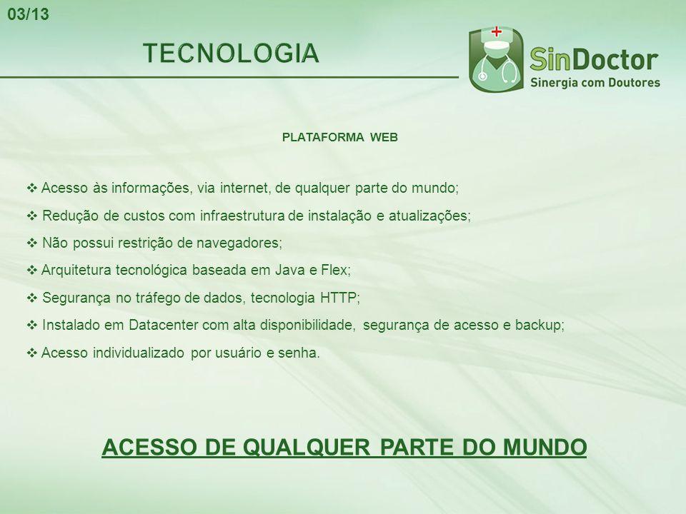PLATAFORMA WEB  Acesso às informações, via internet, de qualquer parte do mundo;  Redução de custos com infraestrutura de instalação e atualizações;
