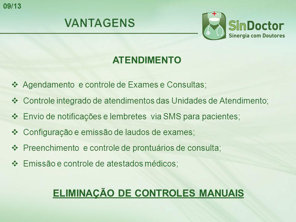 ATENDIMENTO  Agendamento e controle de Exames e Consultas;  Controle integrado de atendimentos das Unidades de Atendimento;  Envio de notificações