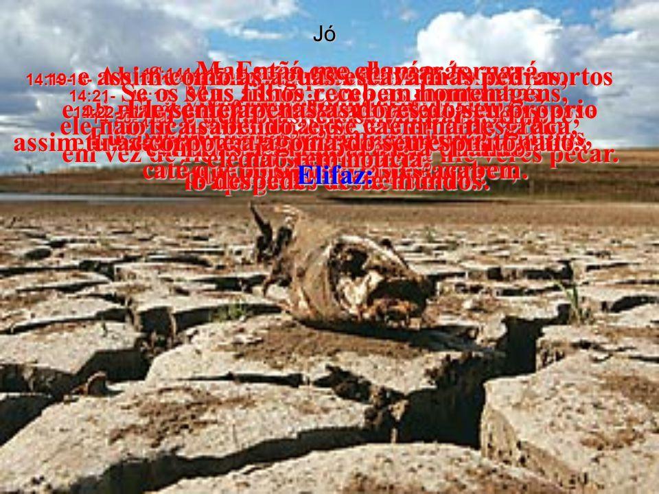 Jó 14:11- Como lagoas que secam, como rios que deixam de correr, 14:12- assim, enquanto o céu existir, todos vamos morrer.
