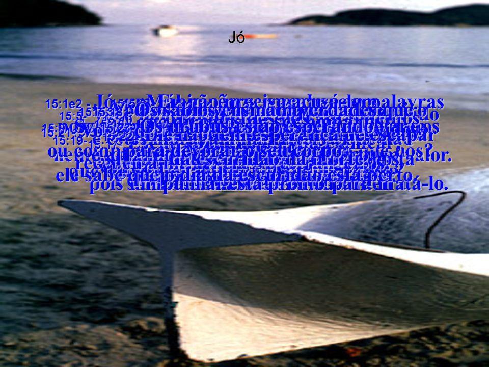 Jó 15:1e2 - Jó, um sábio não responde com palavras ocas, não fica inchado com opiniões que não valem nada.