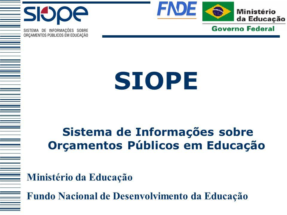 SIOPE Ministério da Educação Fundo Nacional de Desenvolvimento da Educação Sistema de Informações sobre Orçamentos Públicos em Educação