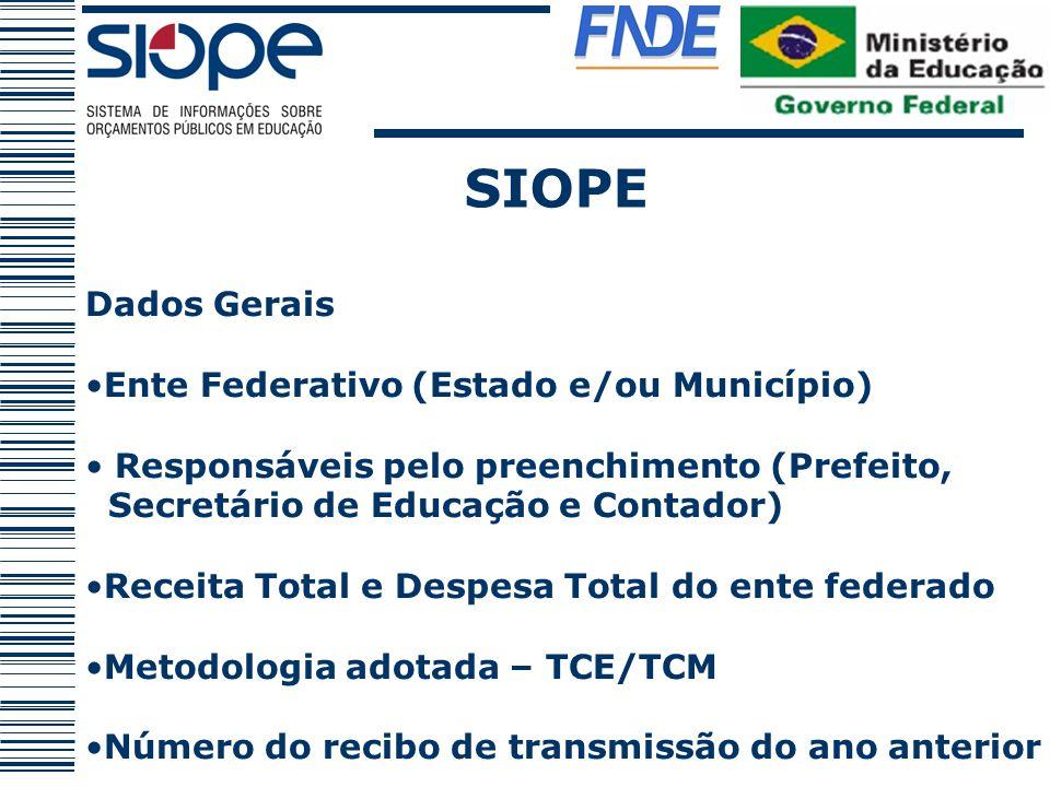 SIOPE Dados Gerais Ente Federativo (Estado e/ou Município) Responsáveis pelo preenchimento (Prefeito, Secretário de Educação e Contador) Receita Total