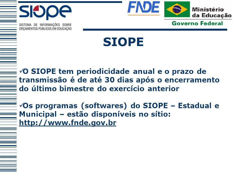 SIOPE O SIOPE tem periodicidade anual e o prazo de transmissão é de até 30 dias após o encerramento do último bimestre do exercício anterior Os progra