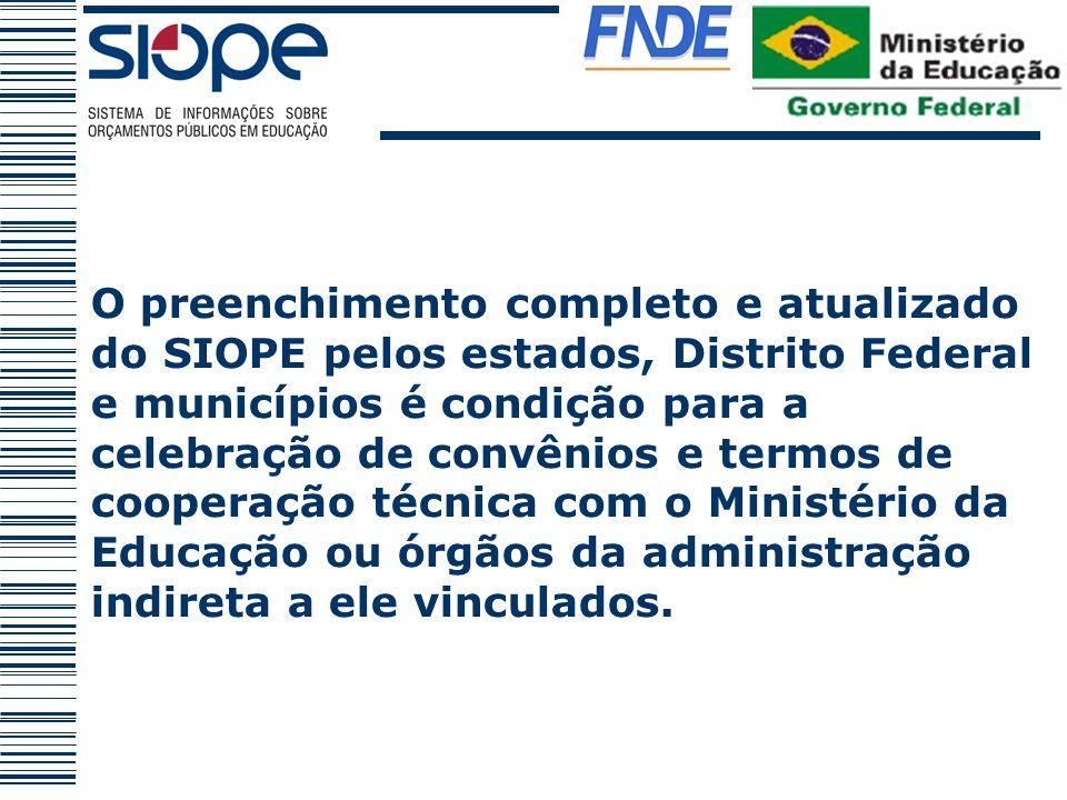 O preenchimento completo e atualizado do SIOPE pelos estados, Distrito Federal e municípios é condição para a celebração de convênios e termos de coop