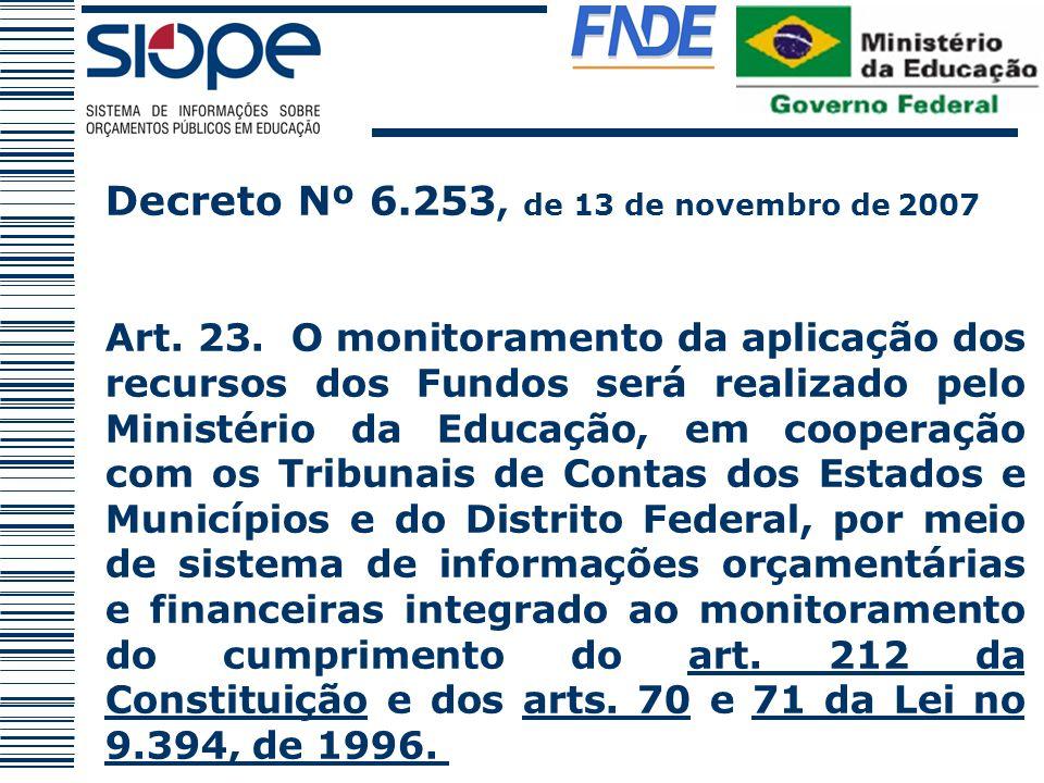 Decreto Nº 6.253, de 13 de novembro de 2007 Art. 23. O monitoramento da aplicação dos recursos dos Fundos será realizado pelo Ministério da Educação,