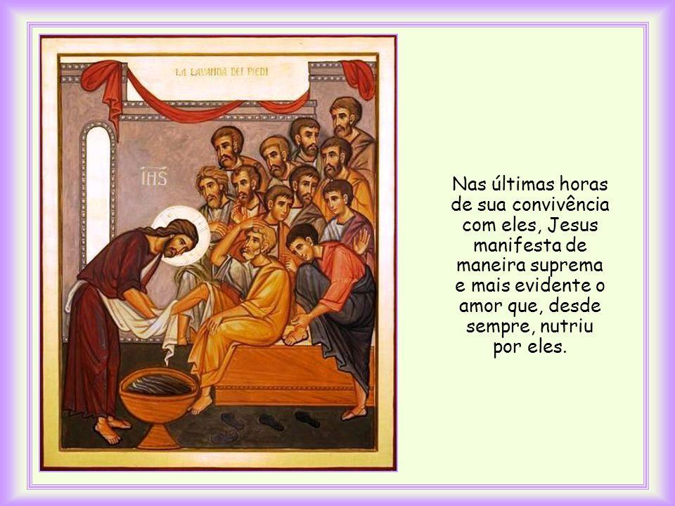 João a insere no momento em que Jesus estava para lavar os pés dos seus discípulos, preparando-se para a sua paixão.
