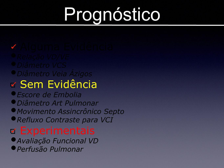 Prognóstico Imagens em TEP Alguma Evidência Relação VD/VE Diâmetro VCS Diâmetro Veia Ázigos Sem Evidência Escore de Embolia Diâmetro Art Pulmonar Movi