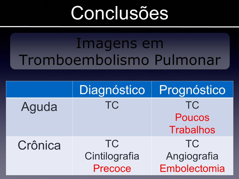 Conclusões DiagnósticoPrognóstico Aguda TC Poucos Trabalhos Crônica TC Cintilografia Precoce TC Angiografia Embolectomia Imagens em Tromboembolismo Pu