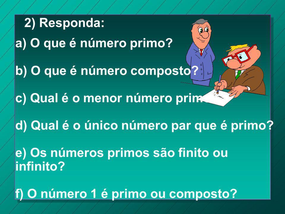 Exercício 1) Determine os divisores dos números e depois classifique-os em primos ou compostos: 5 - 15 - 20 - 13 - 17 - 23 - Moleza!!! 1, 5 1, 3, 5, 1