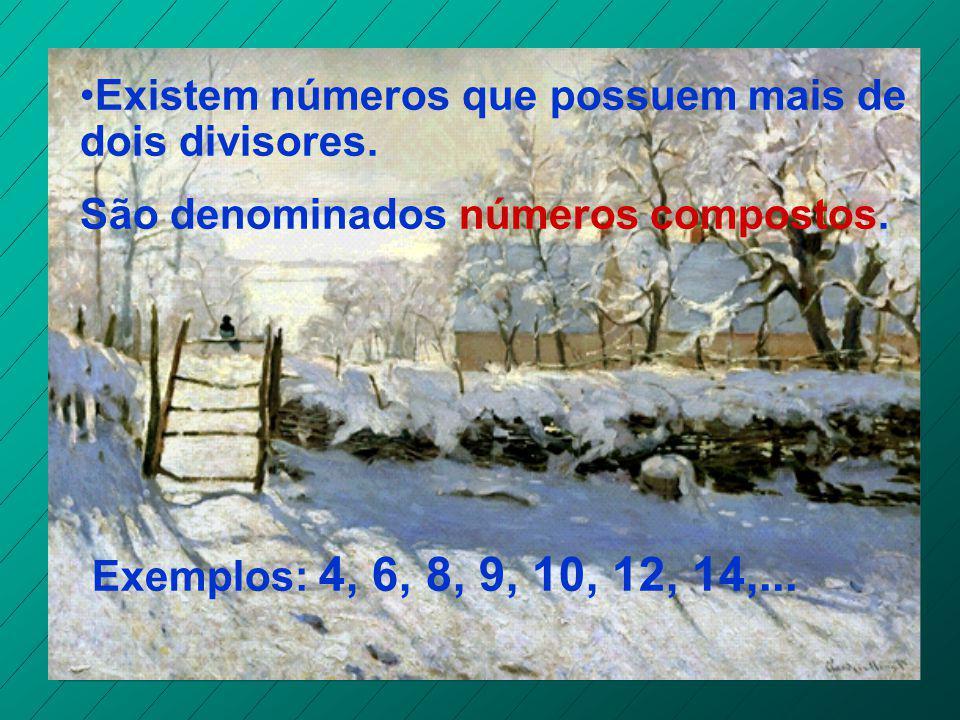 Existem números que possuem apenas dois divisores : o número 1 e ele mesmo. São chamados números primos. Exemplos: 2, 3, 5, 7, 11, 13,...