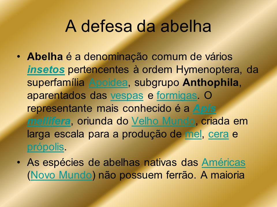 A defesa da abelha Abelha é a denominação comum de vários insetos pertencentes à ordem Hymenoptera, da superfamília Apoidea, subgrupo Anthophila, apar