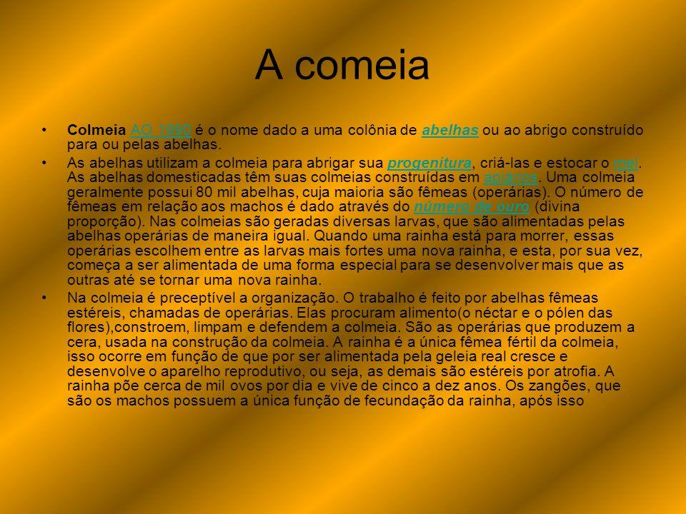 A comeia Colmeia AO 1990 é o nome dado a uma colônia de abelhas ou ao abrigo construído para ou pelas abelhas.AO 1990abelhas As abelhas utilizam a col