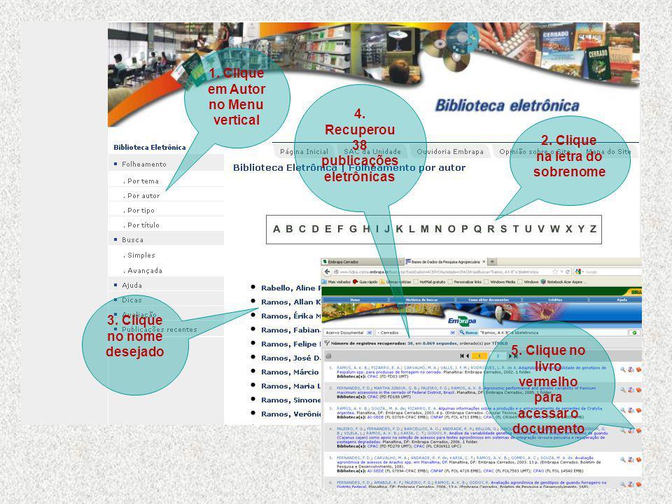 3.Clique no nome desejado 1. Clique em Autor no Menu vertical 2.