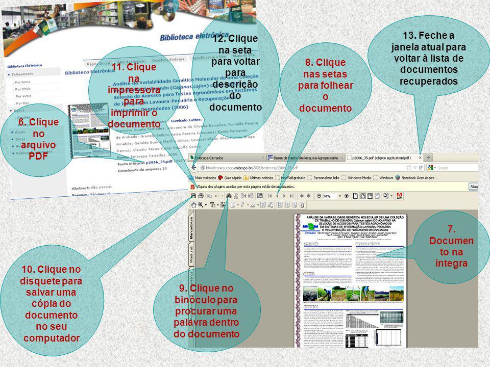 6.Clique no arquivo PDF 7. Documen to na íntegra 8.