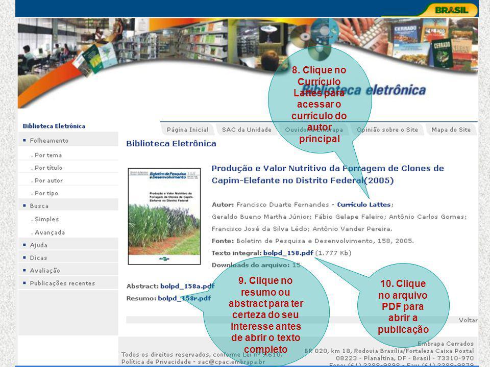 8. Clique no Currículo Lattes para acessar o currículo do autor principal 10.