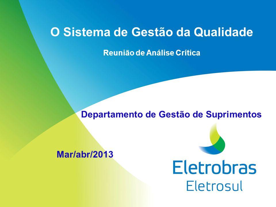 O Sistema de Gestão da Qualidade Reunião de Análise Crítica Mar/abr/2013 Departamento de Gestão de Suprimentos