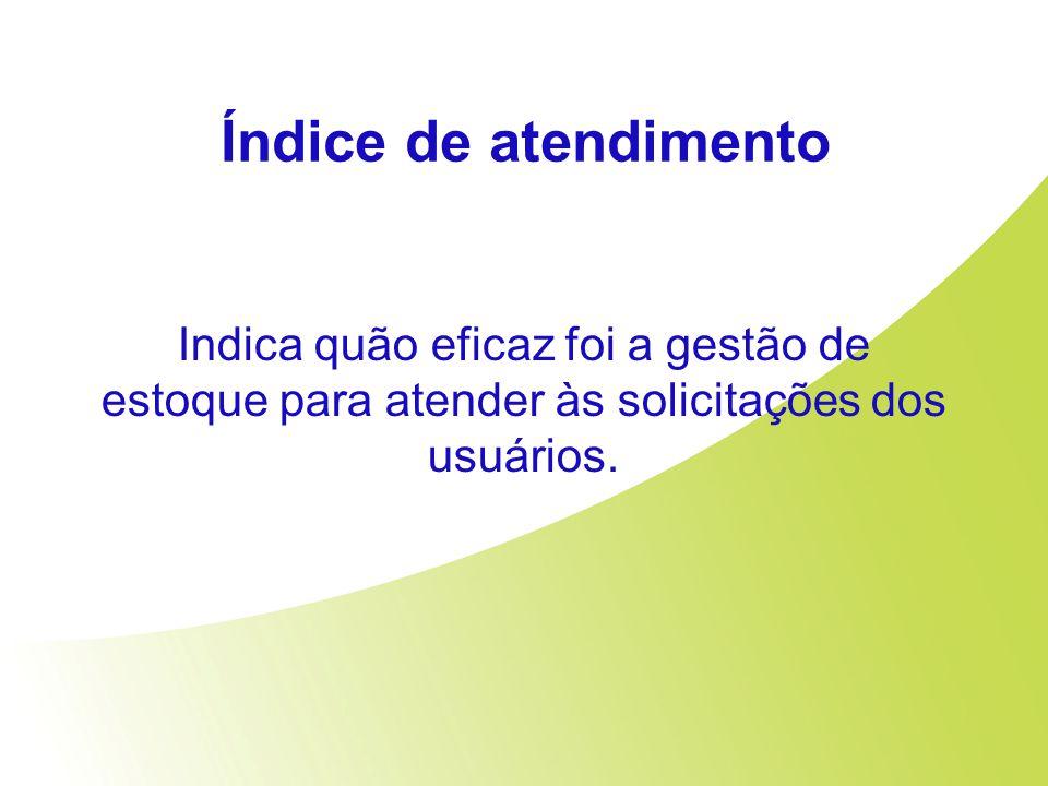 Índice de atendimento Indica quão eficaz foi a gestão de estoque para atender às solicitações dos usuários.
