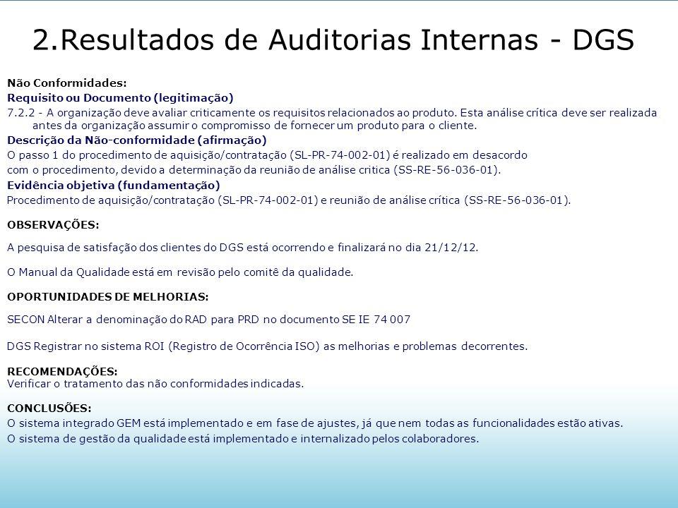 2.Resultados de Auditorias Internas - DGS Não Conformidades: Requisito ou Documento (legitimação) 7.2.2 - A organização deve avaliar criticamente os r