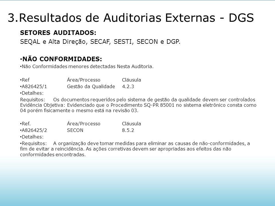 3.Resultados de Auditorias Externas - DGS SETORES AUDITADOS: SEQAL e Alta Direção, SECAF, SESTI, SECON e DGP. NÃO CONFORMIDADES: Não Conformidades men