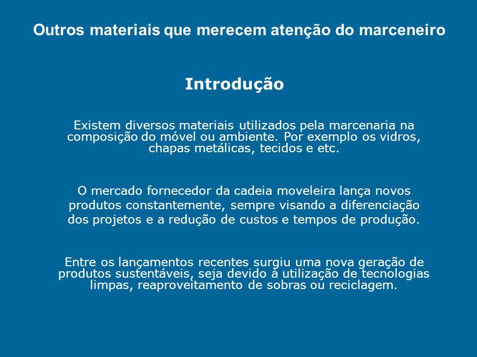 Outros materiais que merecem atenção do marceneiro Introdução Existem diversos materiais utilizados pela marcenaria na composição do móvel ou ambiente
