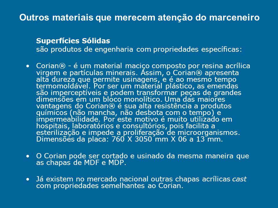 Superfícies Sólidas são produtos de engenharia com propriedades específicas: Corian® - é um material maciço composto por resina acrílica virgem e part