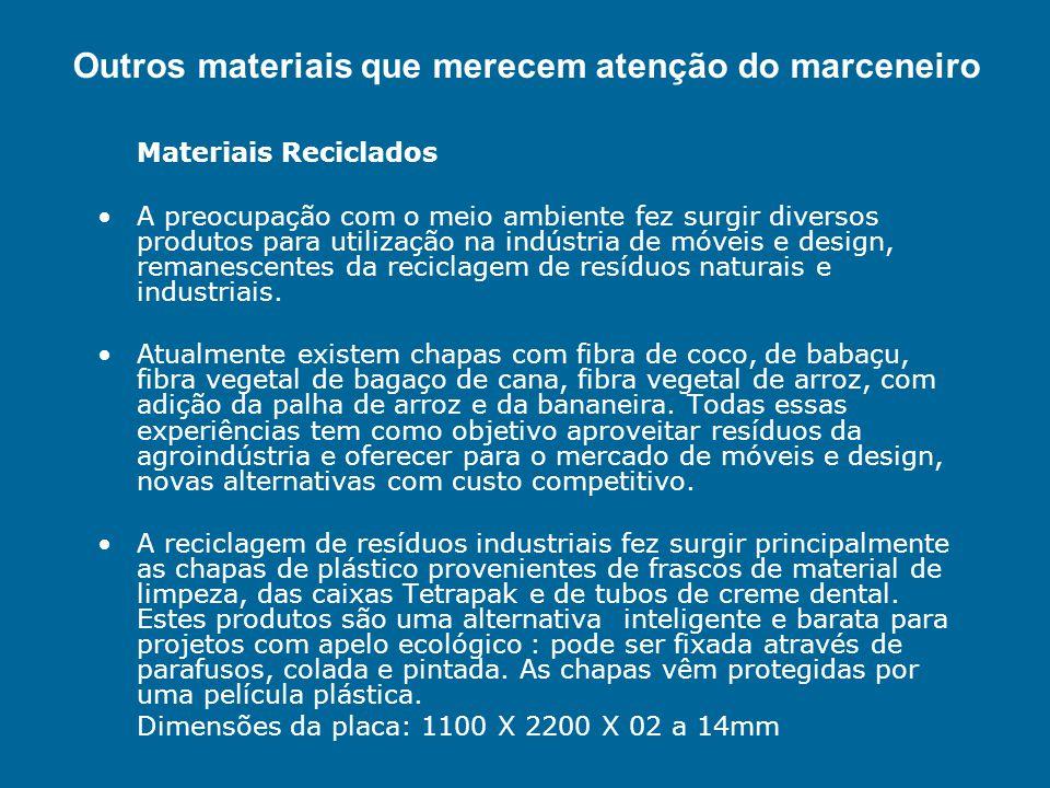 Materiais Reciclados A preocupação com o meio ambiente fez surgir diversos produtos para utilização na indústria de móveis e design, remanescentes da