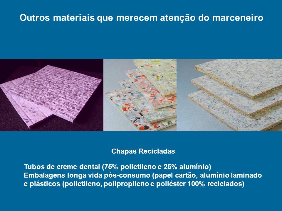 Tubos de creme dental (75% polietileno e 25% alumínio) Embalagens longa vida pós-consumo (papel cartão, alumínio laminado e plásticos (polietileno, po