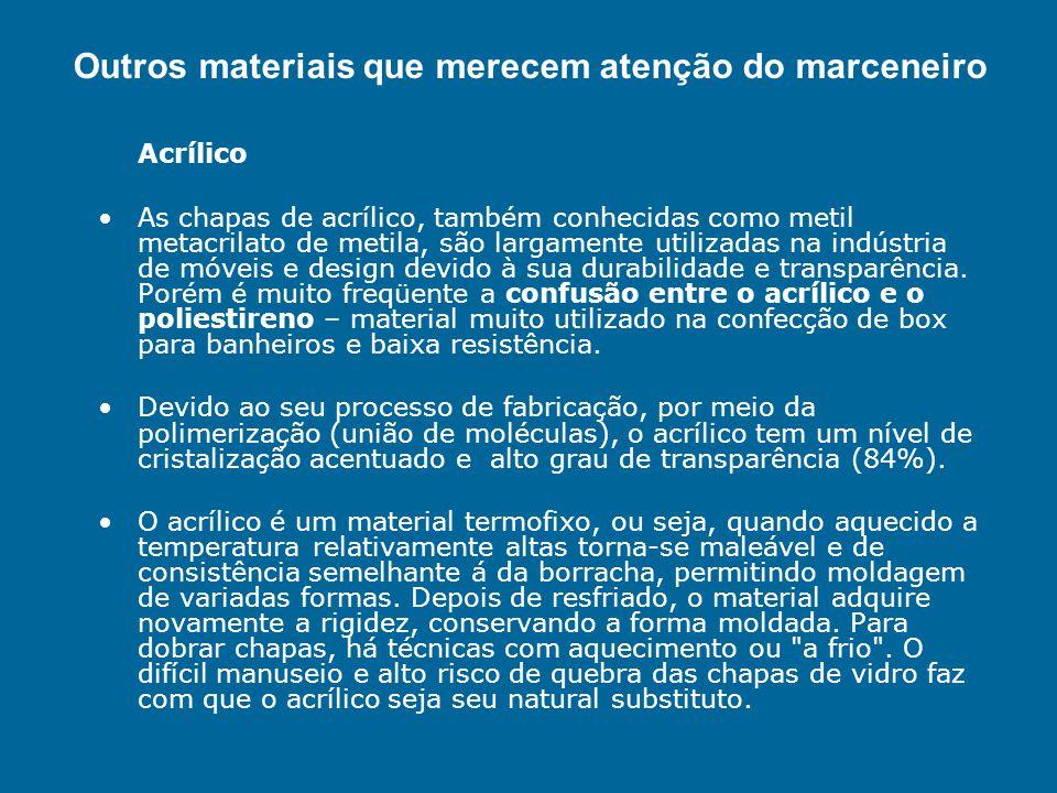 Materiais Sustentáveis MATERIAS ECOLÓGICOS Outros materiais que merecem atenção do marceneiro