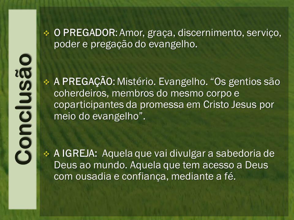 Conclusão  O PREGADOR: Amor, graça, discernimento, serviço, poder e pregação do evangelho.