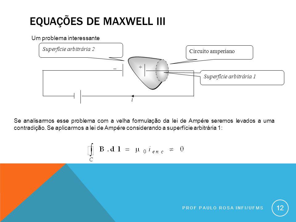 EQUAÇÕES DE MAXWELL III PROF PAULO ROSA INFI/UFMS 12 Um problema interessante Se analisarmos esse problema com a velha formulação da lei de Ampére seremos levados a uma contradição.