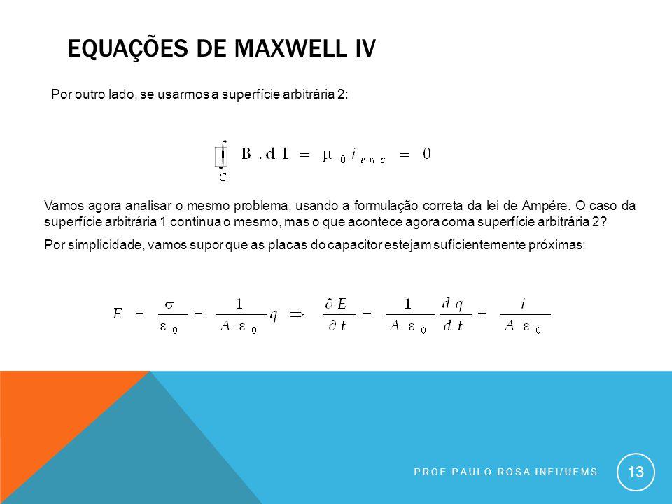 PROF PAULO ROSA INFI/UFMS 13 Por outro lado, se usarmos a superfície arbitrária 2: Vamos agora analisar o mesmo problema, usando a formulação correta da lei de Ampére.