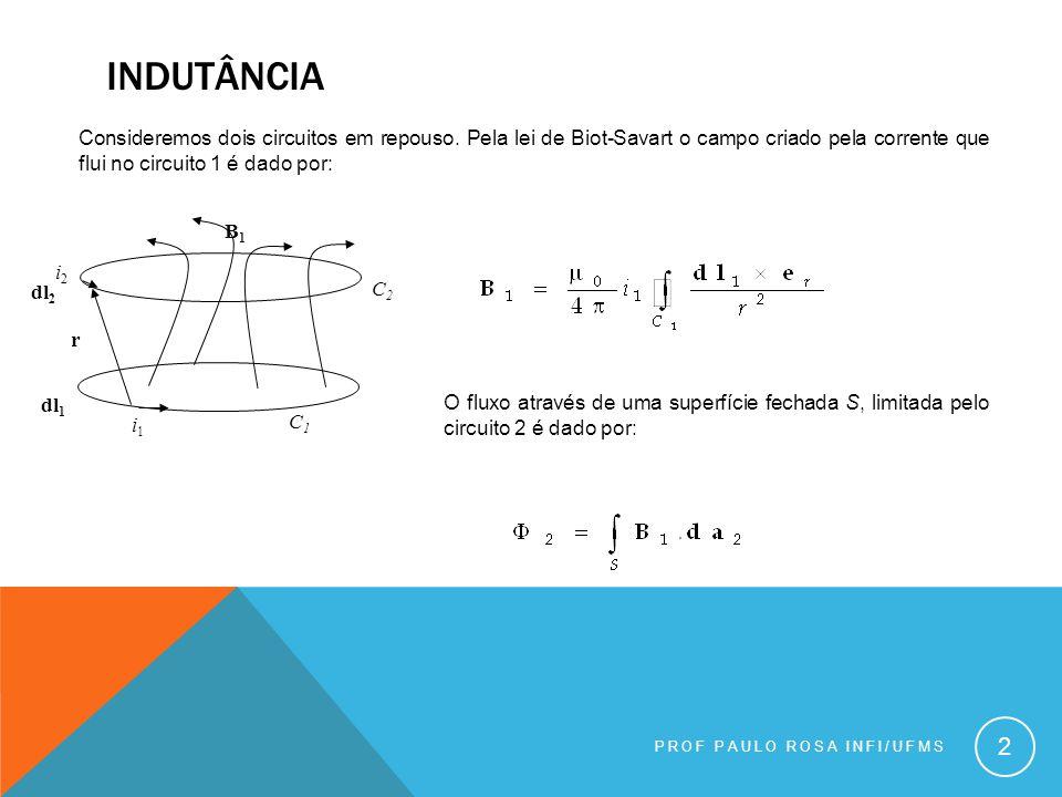 INDUTÂNCIA PROF PAULO ROSA INFI/UFMS 2 Consideremos dois circuitos em repouso.