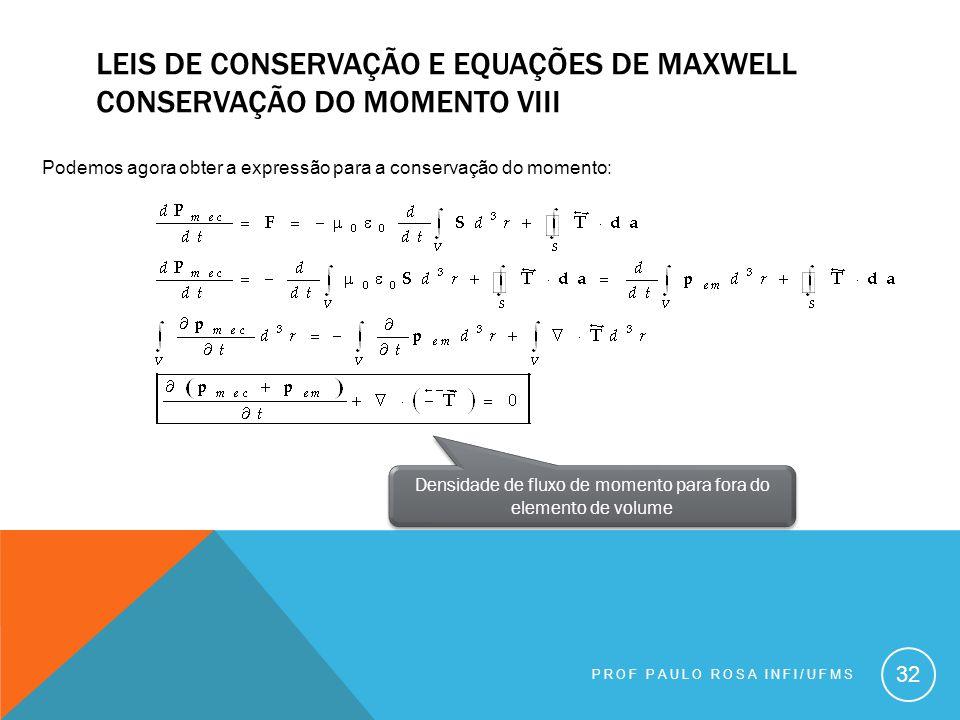 PROF PAULO ROSA INFI/UFMS 32 LEIS DE CONSERVAÇÃO E EQUAÇÕES DE MAXWELL CONSERVAÇÃO DO MOMENTO VIII Podemos agora obter a expressão para a conservação do momento: Densidade de fluxo de momento para fora do elemento de volume